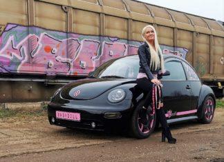 rózsaszín fekete vw new beetle babydoll