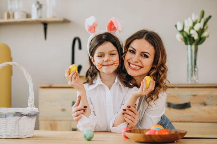 húsvéti készülődés anya és lánya