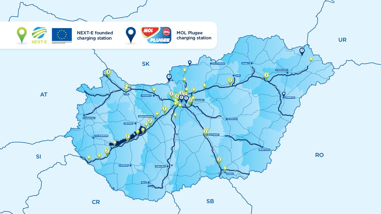 magyarország elektromos töltők térkép